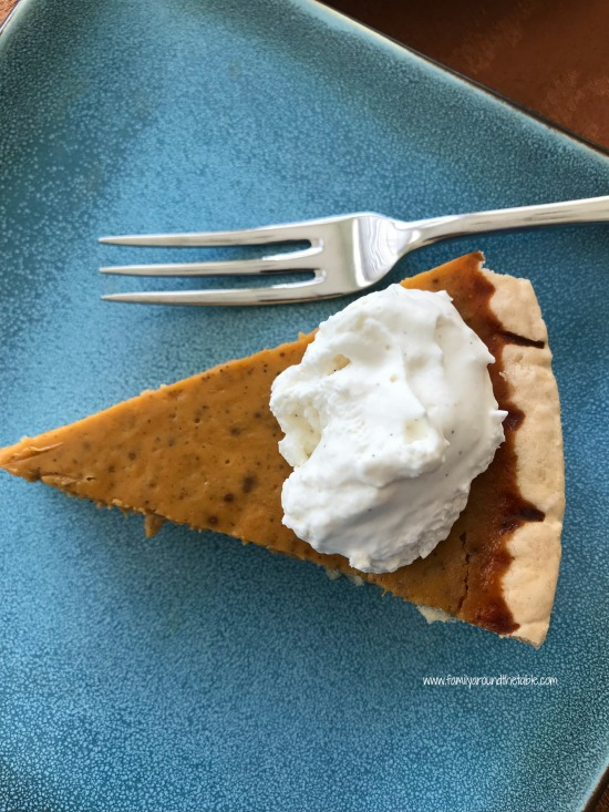 Mom's classic pumpkin pie is a family legend, enjoyed by 3 generations.