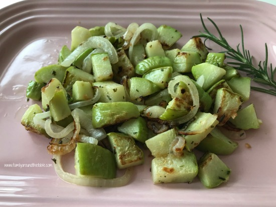 Sauteed Chayote Squash, Onions, Garlic and Rosemary is an easy and delicious side dish.