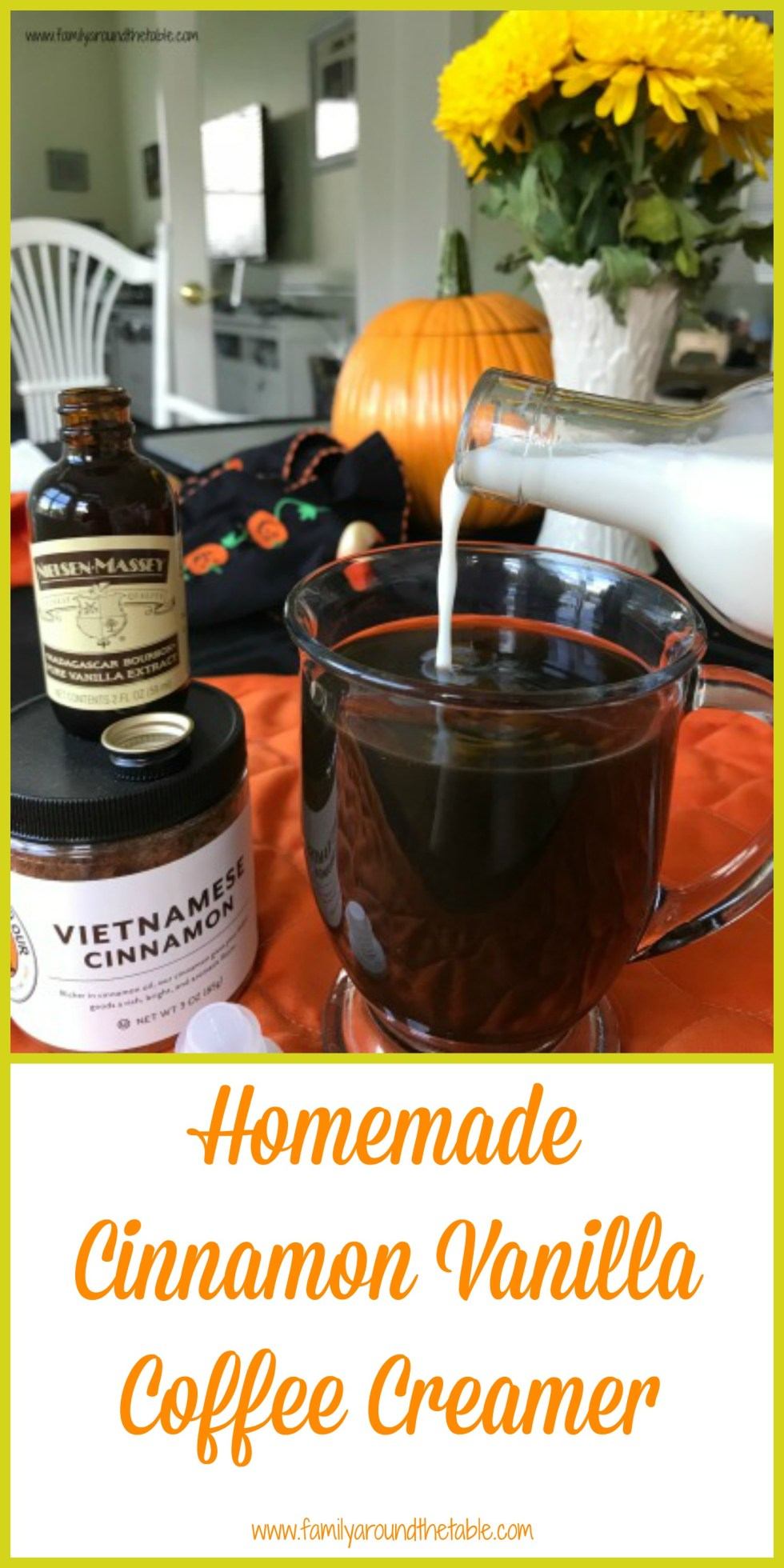 Keep homemade cinnamon vanilla coffee creamer in your fridge for mornings you want a little something special in your coffee.
