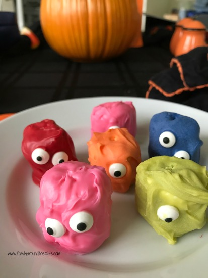 Monster marshmallows are a fun Halloween treat that can easily get kids in the kitchen to help.
