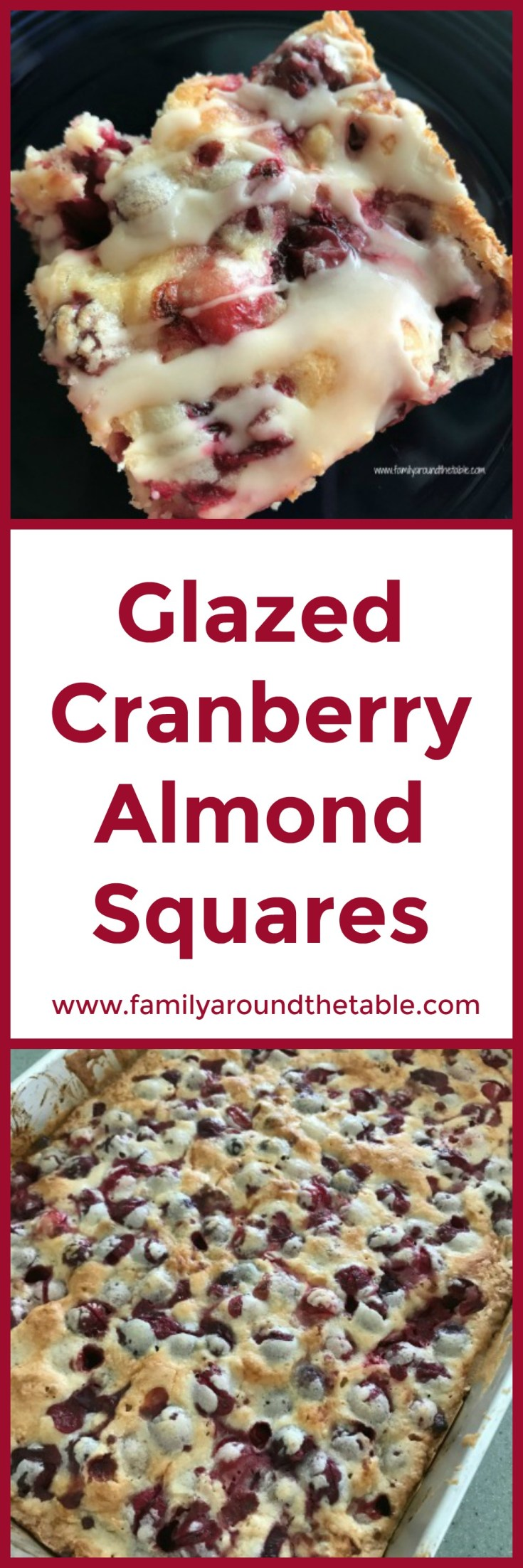 Glazed cranberry almond squares will disappear quickly. Perfect for a holiday dessert buffet.