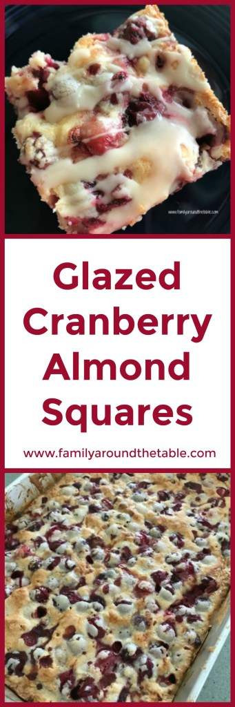 Glazed cranberry almond squares make a nice choice for a holiday dessert buffet. #cranberryweek