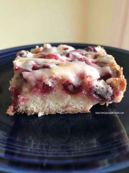 Glazed cranberry almond squares make a nice choice for a holiday dessert buffet.
