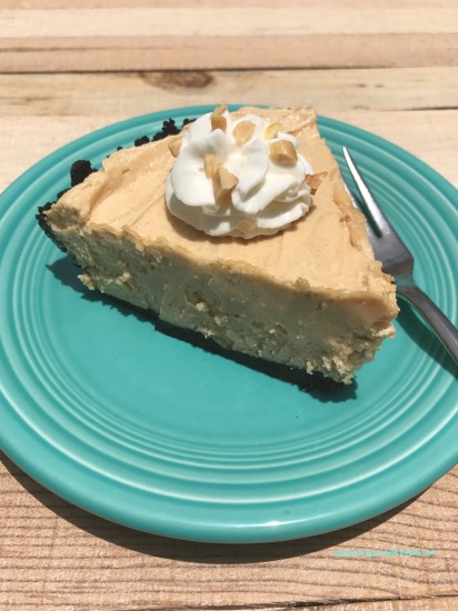 Mom's peanut butter pie with chocolate crust is creamy and delicious.