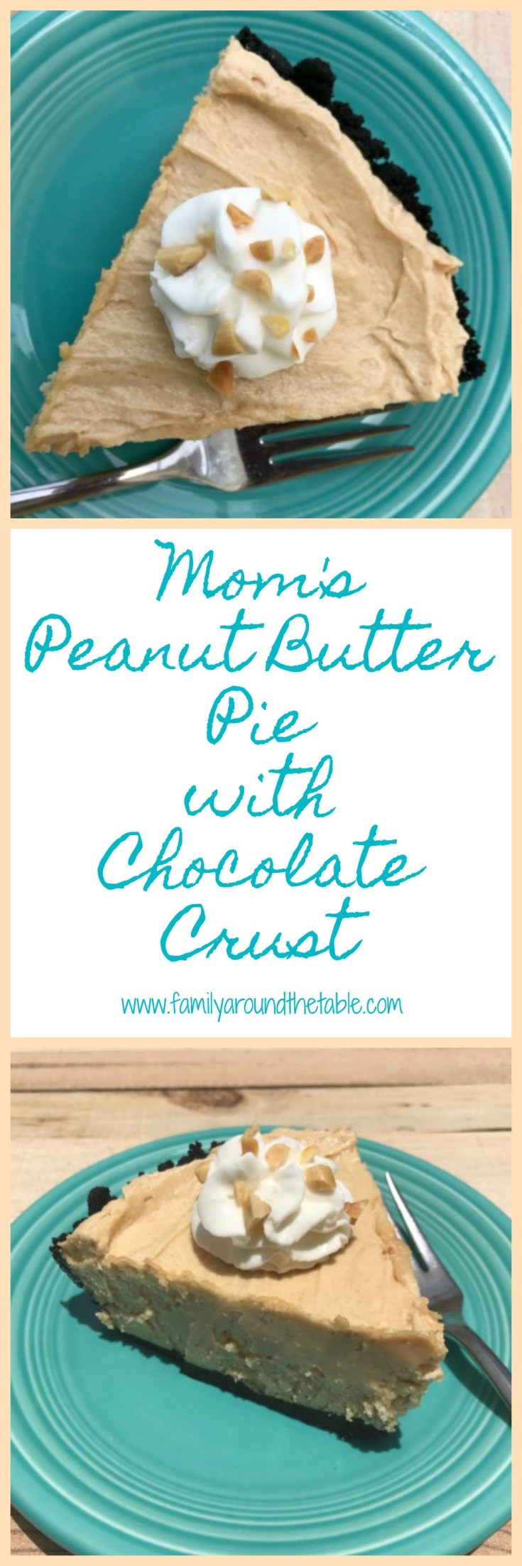 Mom's Peanut Butter Pie with Chocolate Crust is yummy any time of year. It's cool, creamy and delicious on a hot day. Ideal for potluck parties or a spring or summer cookout.