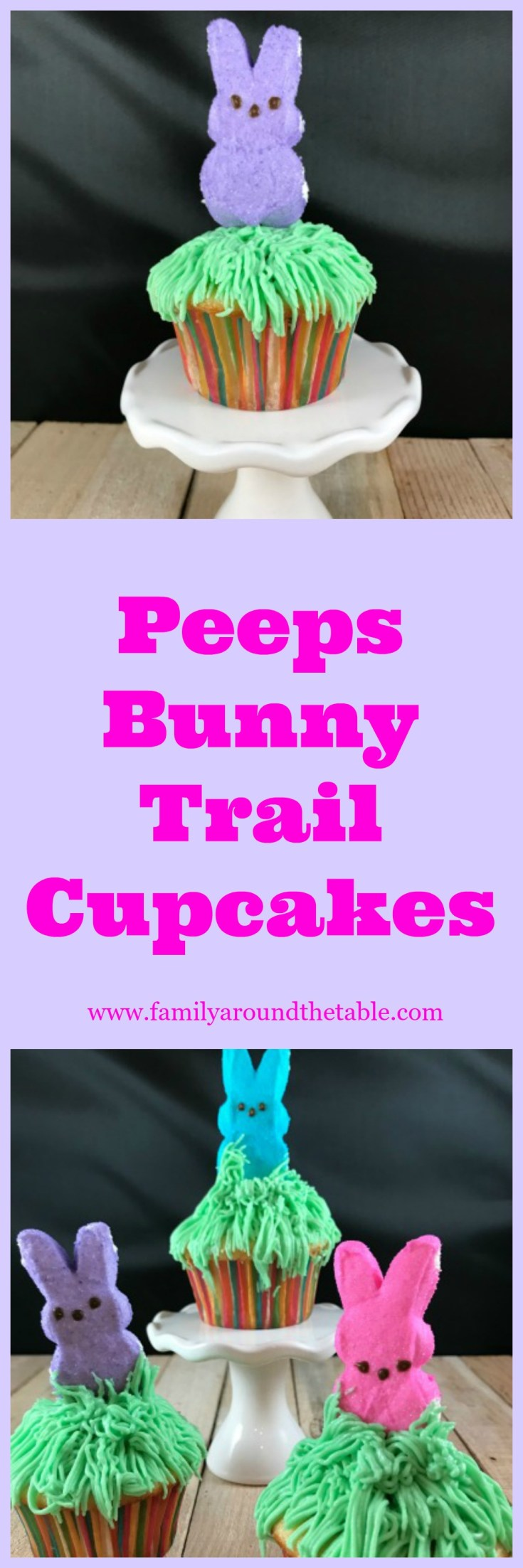 Peeps Bunny Trail Cupcakes will be a hit at your Easter celebration.