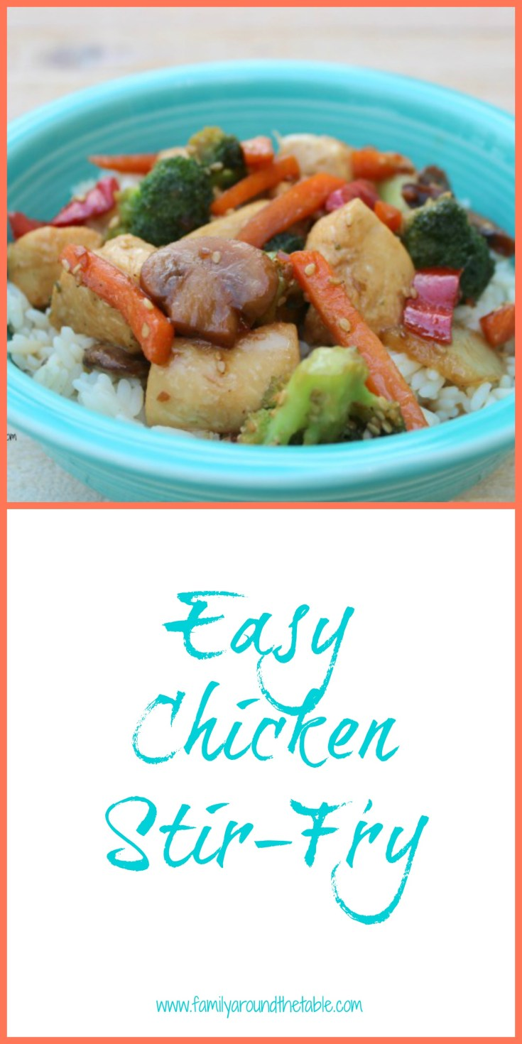 Easy chicken stir-fry is ready in about 30 minutes making it perfect for busy weeknights.