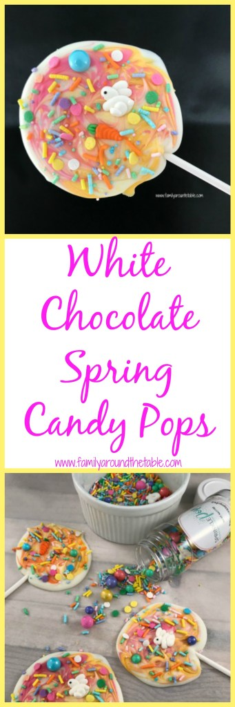 White chocolate spring candy pops are a festive treat to welcome the season. #Springsweetsweek #ad