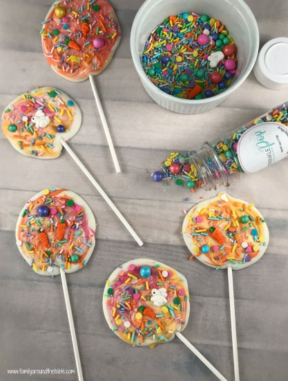 White chocolate spring candy pops are a festive treat to welcome the season. Wrap them up for Easter baskets or party favors.