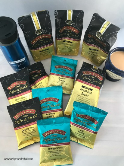 Just some of the coffee flavors offered by Door County Coffee.
