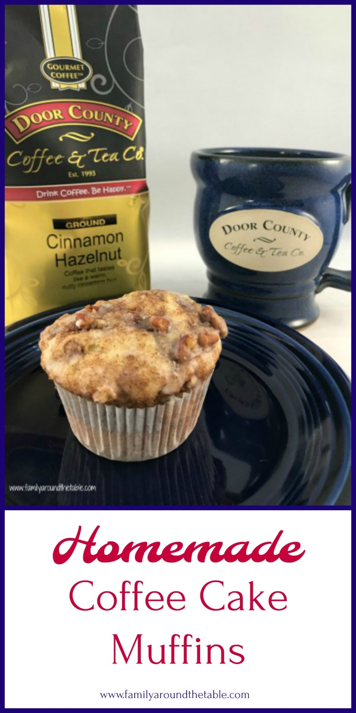 Coffee cake muffins and a cup of coffee in the morning make a great start to the day.