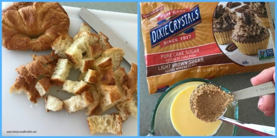 Ingredients for Croissant French toast cups.