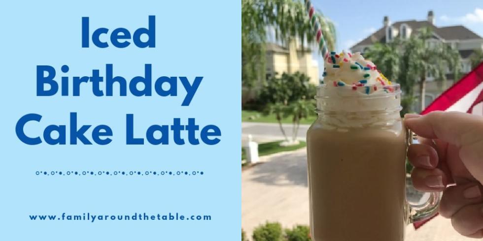 Iced birthday cake latte Twitter image