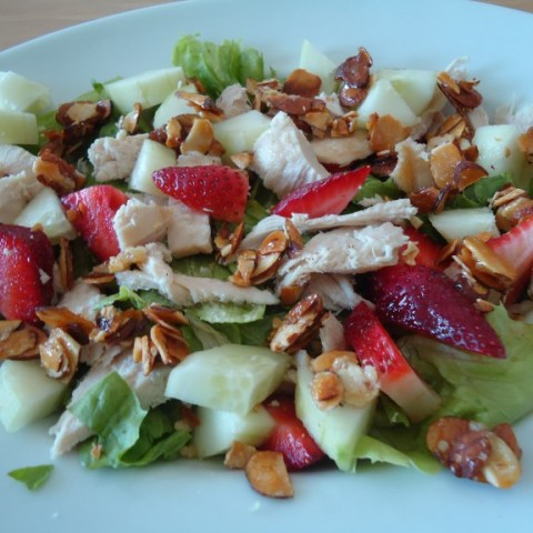Strawberry Salad with Candied Almonds