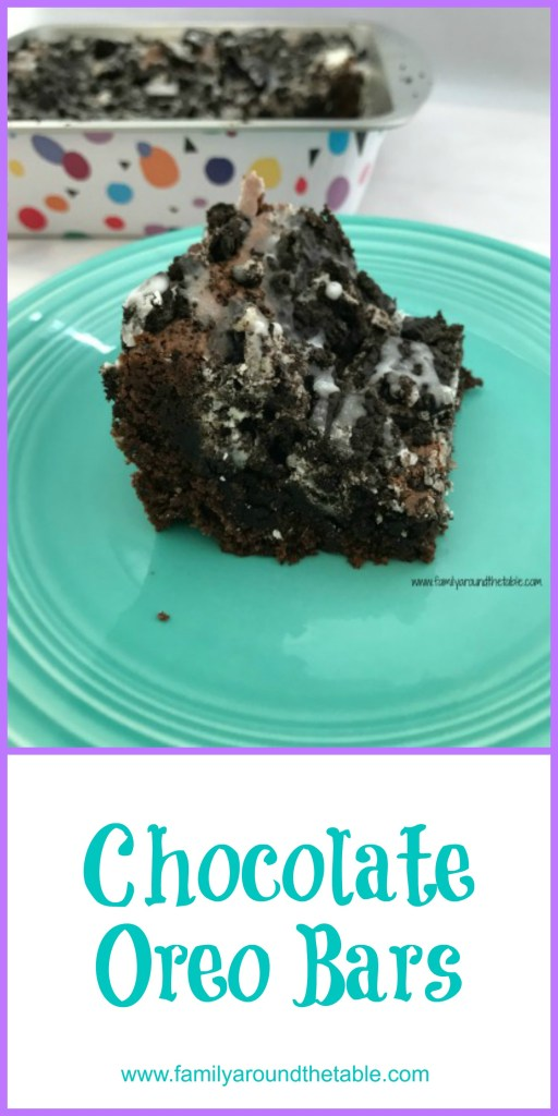 Chocolate Oreo bars start with a cake mix. It perfect for last minute occasions.