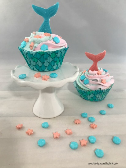 Kids can help make individual mermaid ice cream treats.