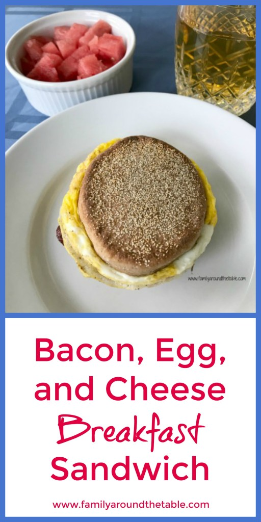 A well rounded breakfast includes a homemade breakfast sandwich, fruit and juice or milk. #ad #backtoschool