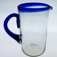Mexican Glass Margarita or Juice Pitcher, Blue Rim, Straight 2 Quarts 64 oz.