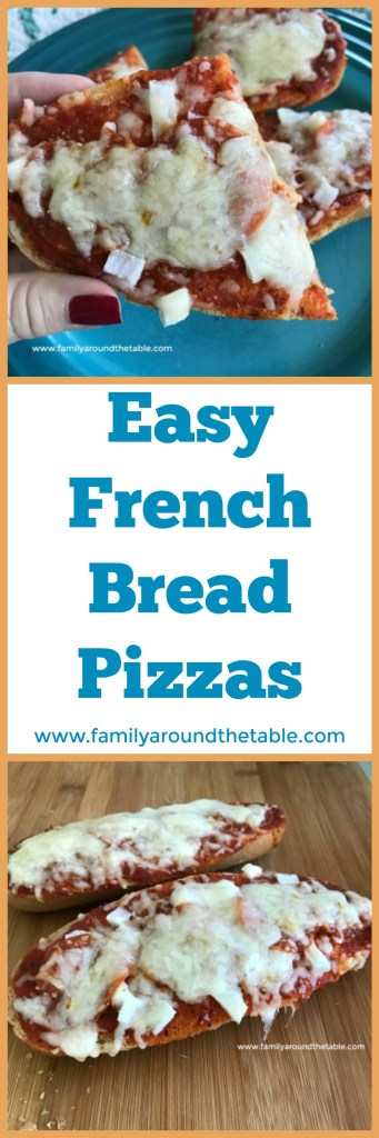 Make easy French bread pizzas make a great weekend lunch or weeknight dinner. Just add a salad. #OurFamilyTable