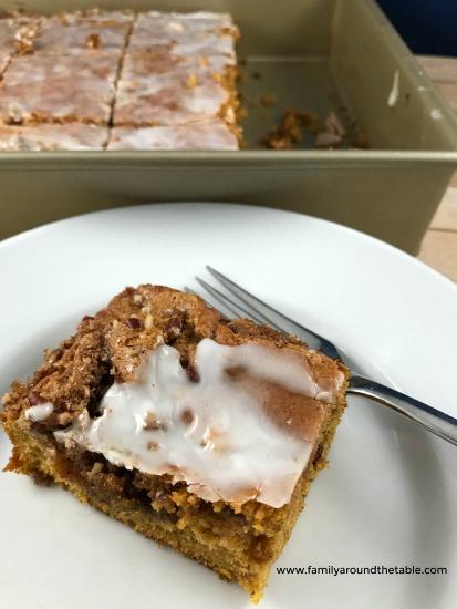 Serve pumpkin honey bun cake for breakfast or dessert.