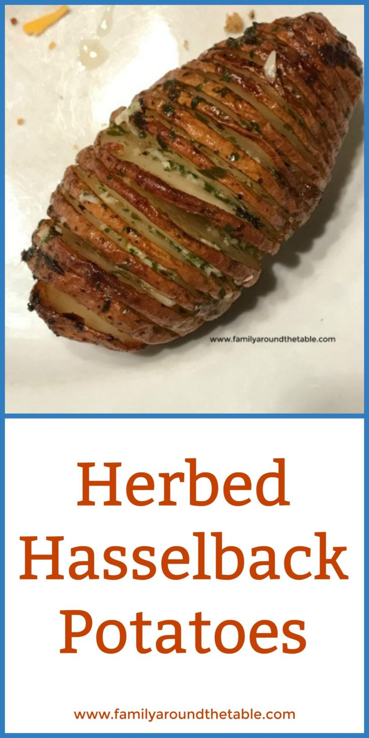 Herbed hasselback potatoes are and easy side dish for any entree. #HolidaySideDishes