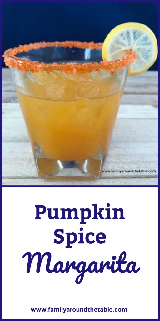 A festive pumpkin spice margarita perfect for fall. #FallFlavors