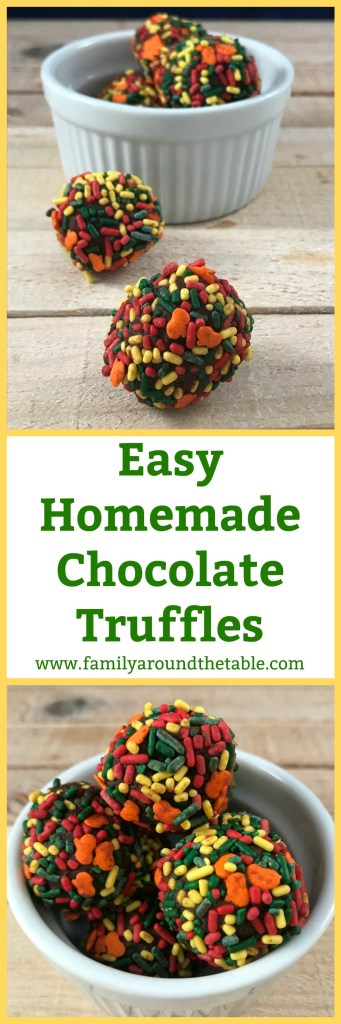 Easy Homemade Chocolate Truffles make a delightful hostess gift or party favor. #OurFamilyTable