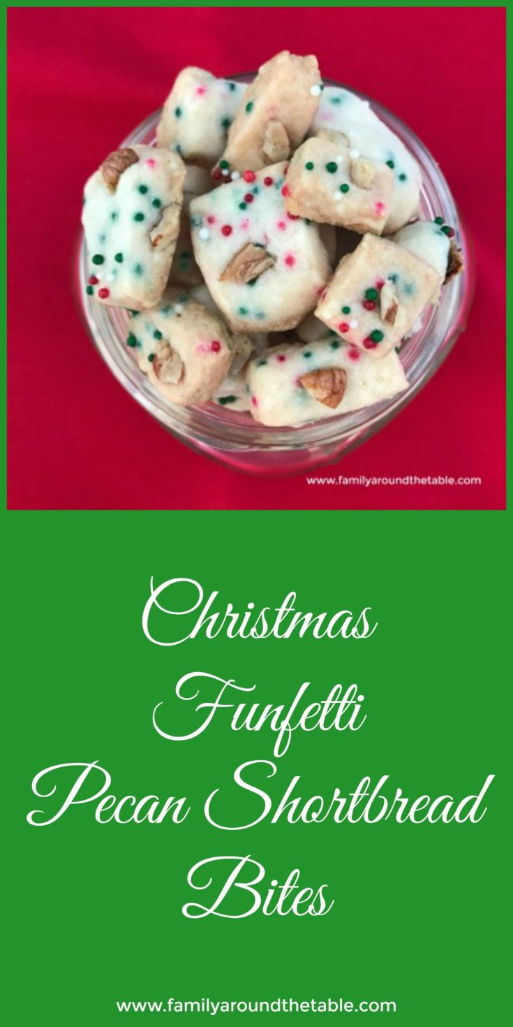 Christmas funfetti pecan shortbread is buttery delicious. #ChristmasCookies