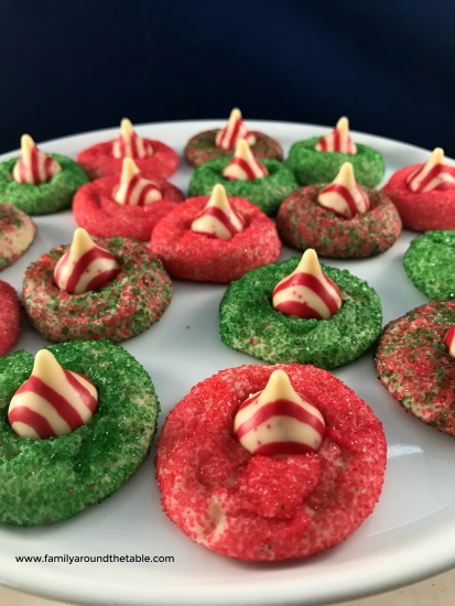 A festive tray of peppermint blossom cookies.