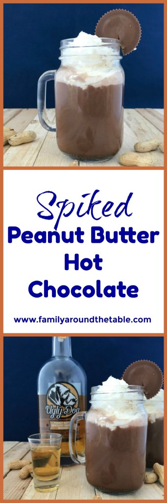Spiked Peanut Butter Hot Chocolate combines favorite flavors. #NationalPeanutButterDay