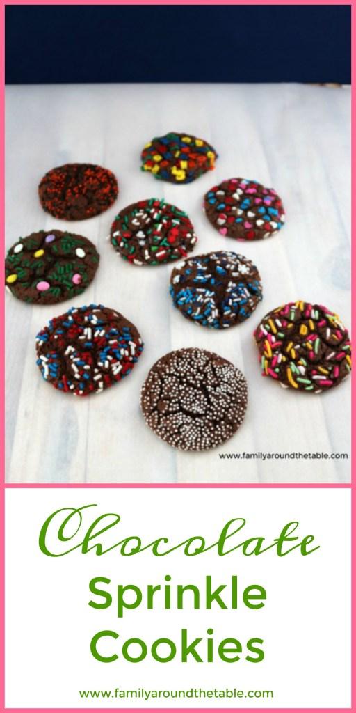 Chocolate Sprinkle Cookies image for Pinterest