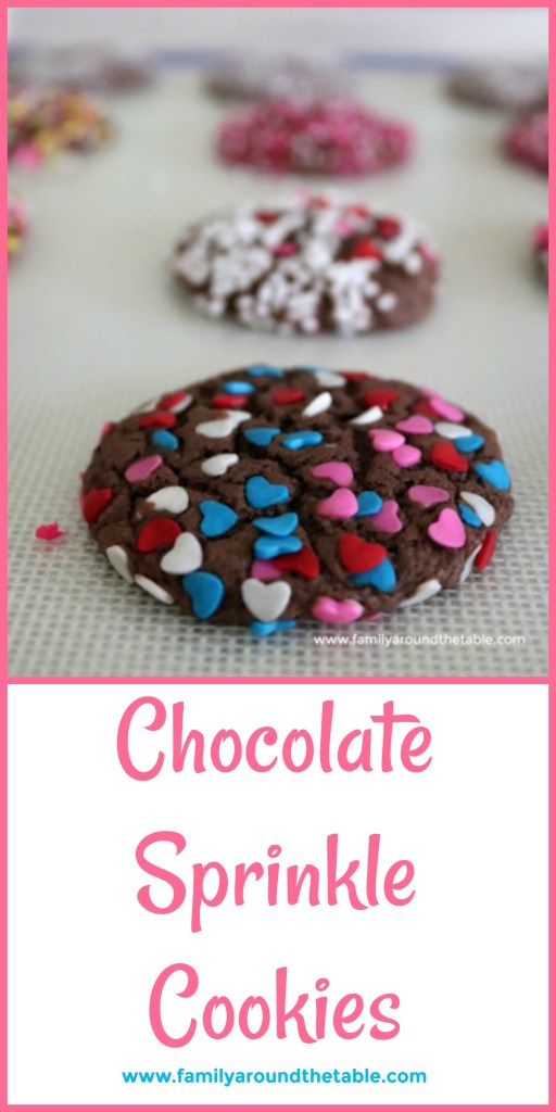 Decorate chocolate sprinkle cookies with Valentine sprinkles for your sweetheart.
