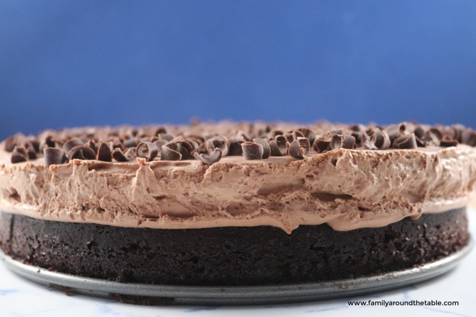 A side view of the gorgeous layers in the chocolate mousse cake.
