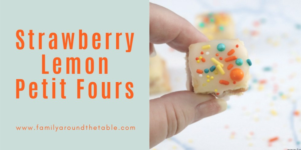 A dainty strawberry lemon petit four perfect for spring.