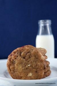White Chocolate raspberry cookies with milk