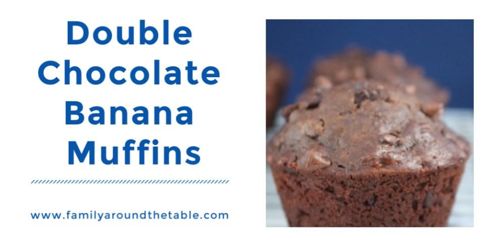 Double Chocolate Banana Muffins Twitter image.