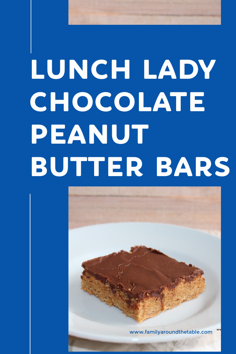 Lunch Lady Chocolate Peanut Butter Bars Pinterest image.