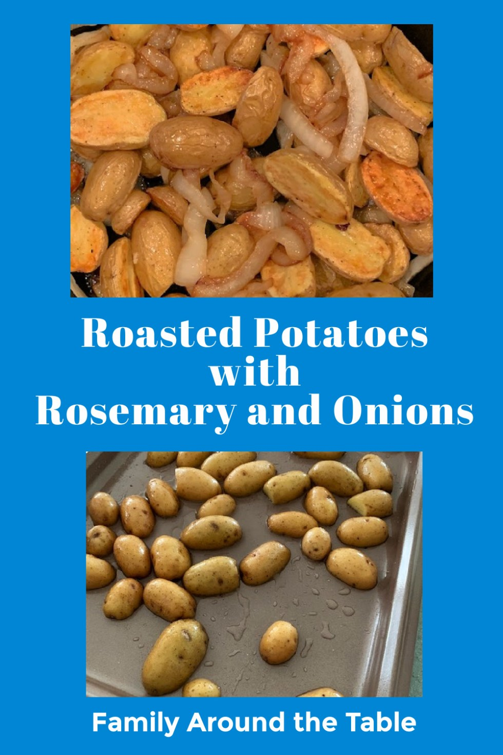 Roasted potatoes with rosemary and onions Pinterest image.
