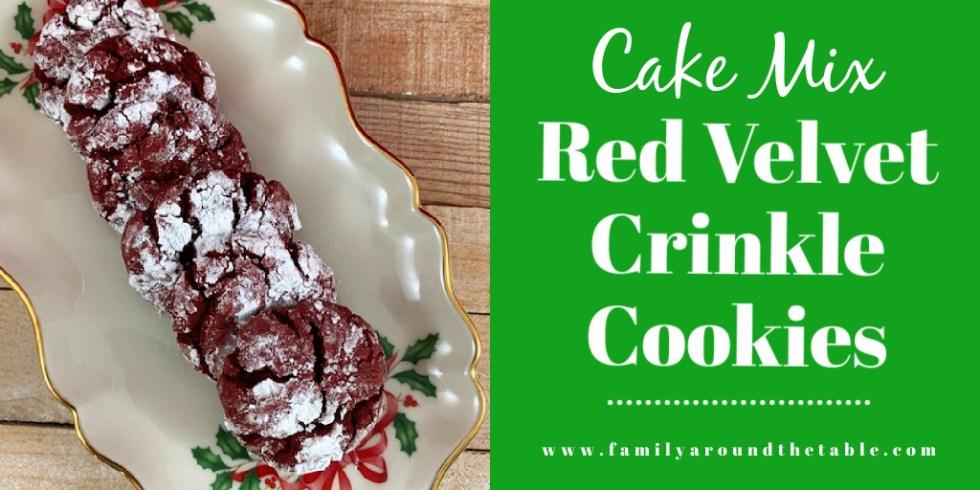 Red velvet crinkle cookies Twitter image.