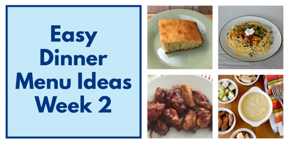 Easy Dinner Menu Ideas collage of photos, Twitter image.