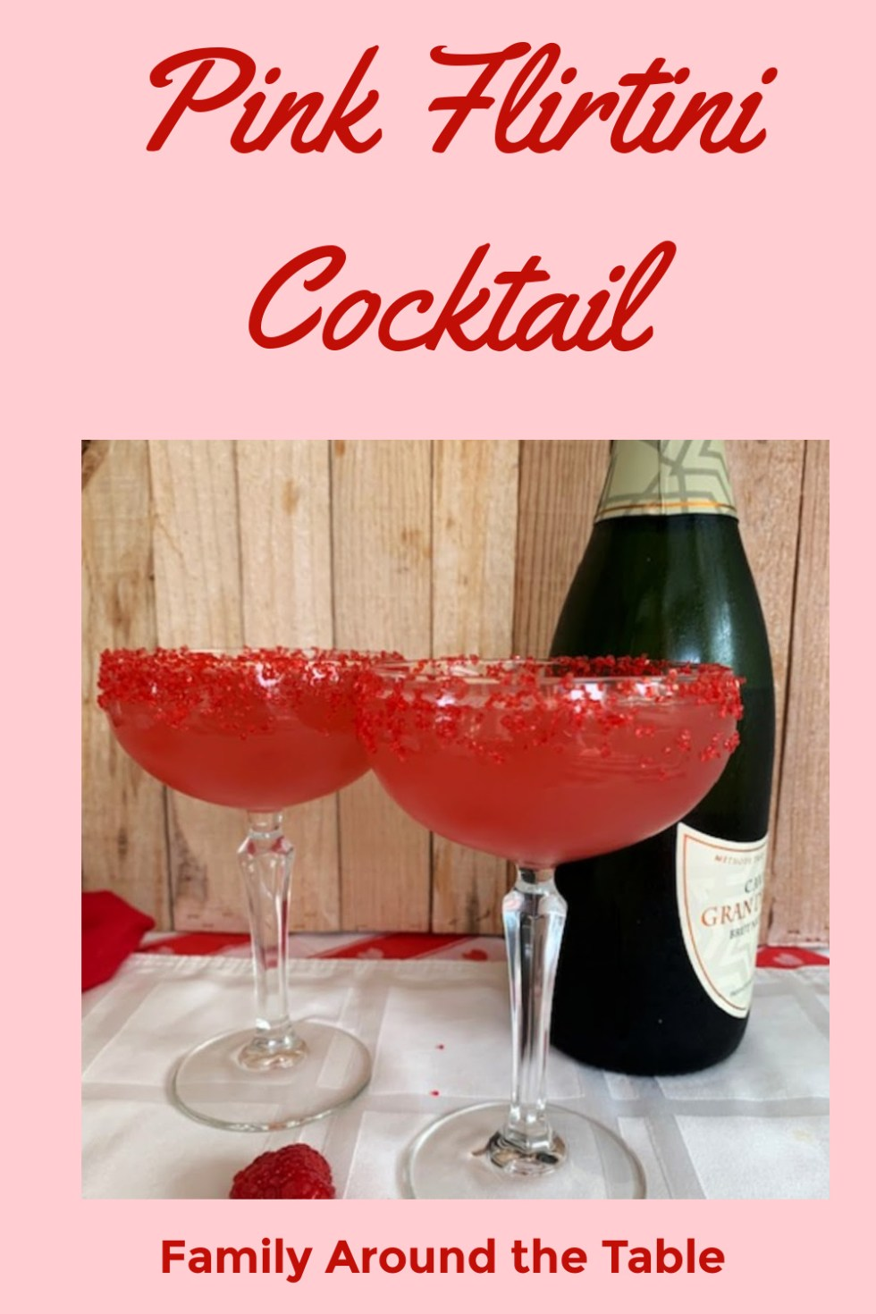 Pink Flirtini Cocktail Pinterest image.