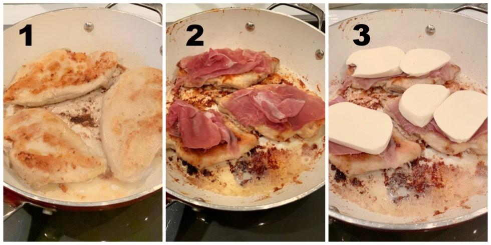 3 steps to making chicken saltimbocca image.