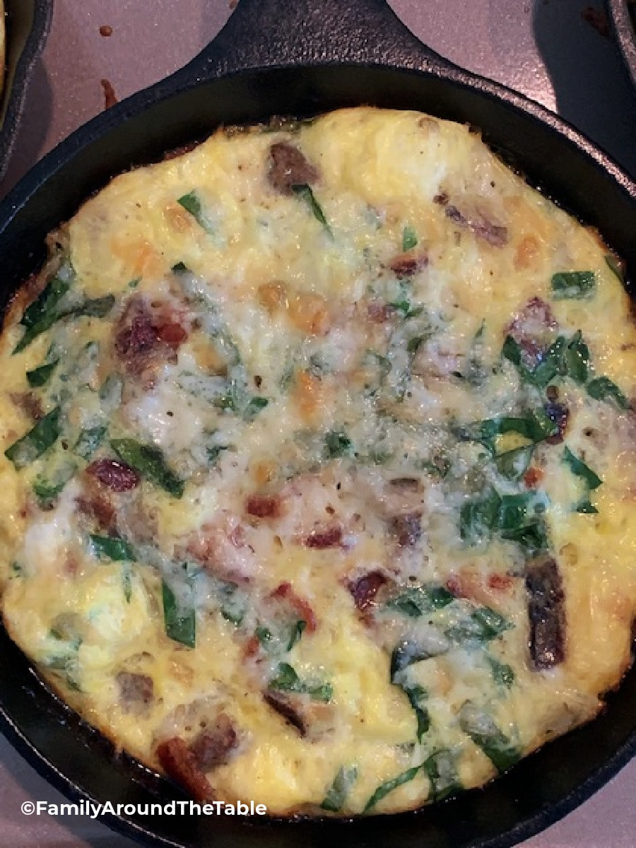 Overhead photo of Individual Sausage and Spinach Skillet Frittatas