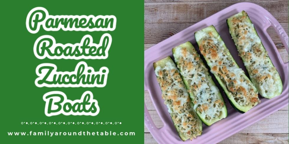 Parmesan Roasted Zucchini Boats Twitter Image