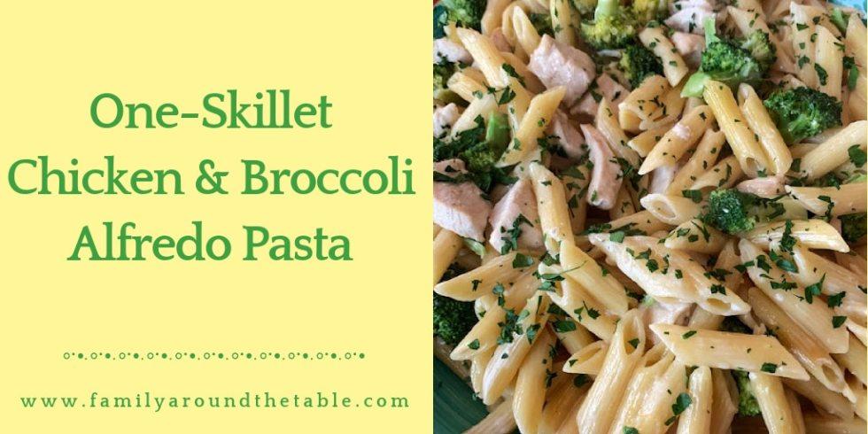 One Skillet Chicken and Broccoli Alfredo Pasta Twitter Image.