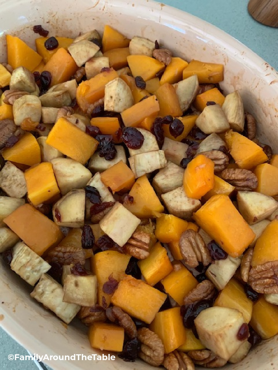 Overhead photo of a vegetable medley in a baking dish.