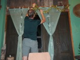 Hanging the tinsel