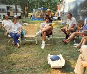Me at my first family camp meeting in Hillsboro, OH. I am the one in the center of the picture holding my daughter.