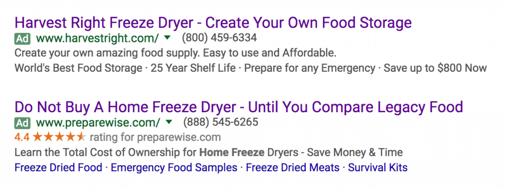 "google search result - ads for ""home freeze drying"""