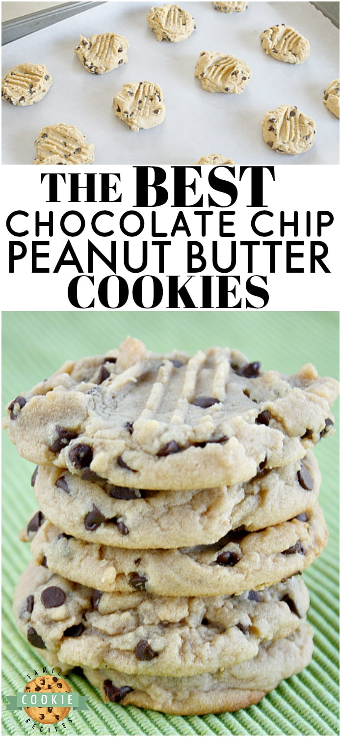 Chocolate Chip Peanut Butter Cookies are soft and chewy, and they turn out perfect every time! Start with an amazing Peanut Butter Cookie recipe and add chocolate chips to take these cookies to the next level!